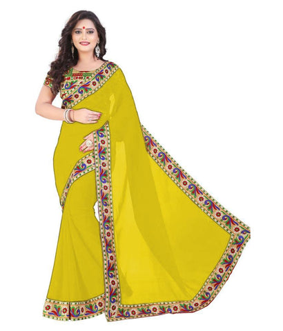Yellow Color Chiffon Saree - SH-18