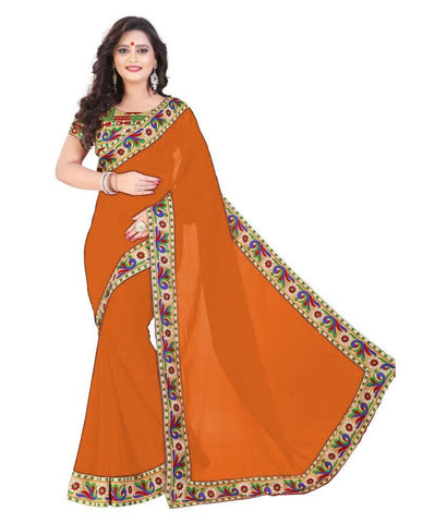 Light Orange Color Chiffon Saree - SH-19