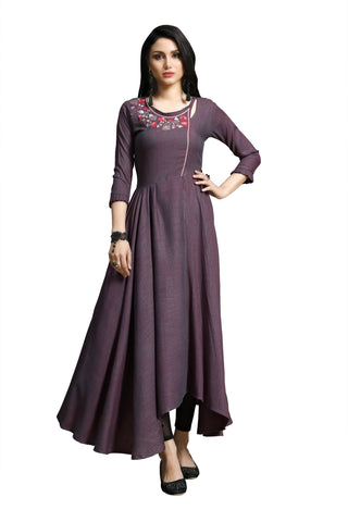 Brown Color Rayon Namo Slub Women's Stitched Kurti - SHANGAR-7501