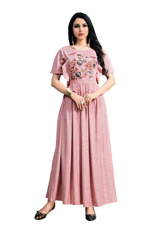 Light Pink Color Rayon Namo Slub Women's Stitched Kurti - SHANGAR-7502