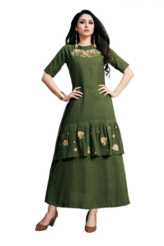 Dark Green Color Rayon Namo Slub Women's Stitched Kurti - SHANGAR-7504