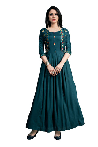 Dark Green Color Rayon Namo Slub Women's Stitched Kurti - SHANGAR-7505