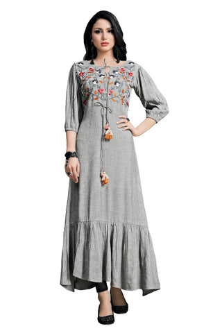 Grey Color Rayon Namo Slub Women's Stitched Kurti - SHANGAR-7506