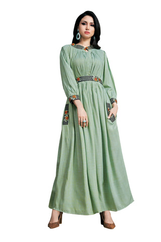 Light Teal Color Rayon Namo Slub Women's Stitched Kurti - SHANGAR-7507