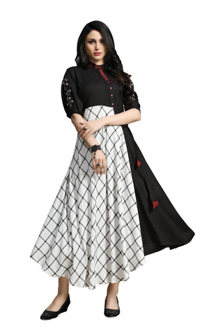 Black and White Color Rayon Namo Slub Women's Stitched Kurti - SHANGAR-7508