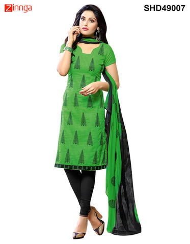 Green Color  Cotton Dress Material - SHD49007