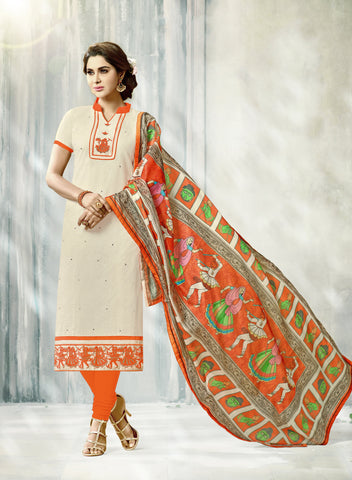 Cream Color South Cotton Unstitched Salwar Kameez - SHEN41002