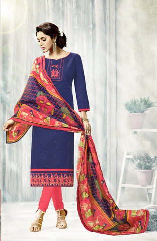 NavyBlue Color South Cotton Unstitched Salwar Kameez - SHEN41004