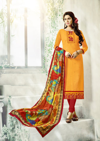 Yellow Color South Cotton Unstitched Salwar Kameez - SHEN41007