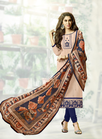 Beige Color South Cotton Unstitched Salwar Kameez - SHEN41009