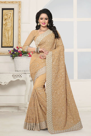 Beige Color Georgette Saree - SHINE-131