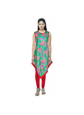 Sea Green Color Cotton Ready Made Kurti - SI-3256