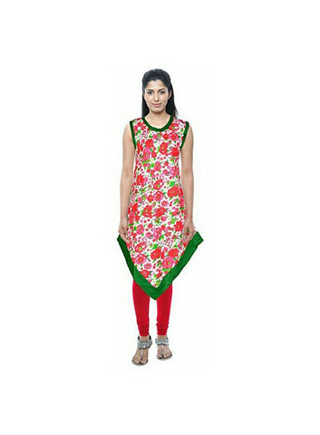 White Color Cotton Ready Made Kurti - SI-3309