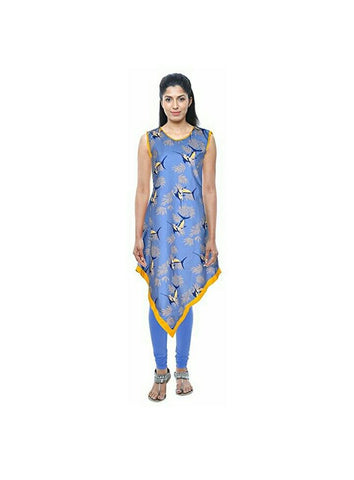 Blue Color Cotton Ready Made Kurti - SI-3332