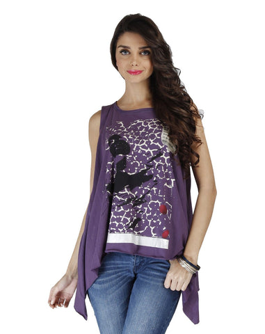 Purple Color Organic Cotton Women Top - SIM-InkpotPurple