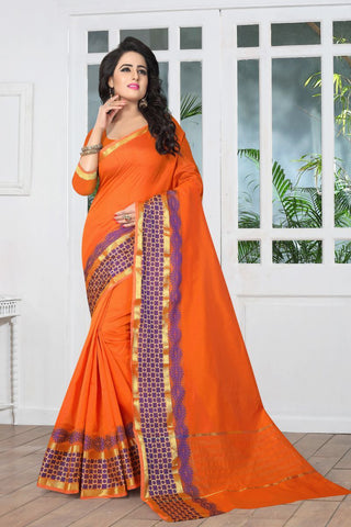 Orange Color Banarasi Silk Saree - SIM-SIM1091