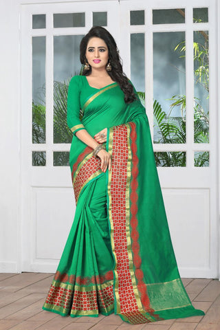 Green Color Banarasi Silk Saree - SIM-SIM1095