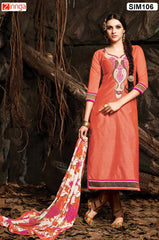 Orange Color Pure Chanderi Semistitched Salwar