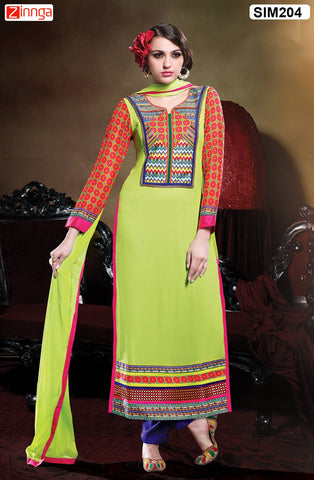 Green  Color Pure Chanderi Semistitched Salwar - SIM204