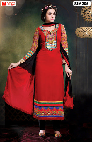 Red Color Pure Chanderi Semistitched Salwar - SIM205