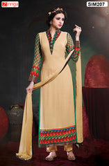 Beige  Color Pure Chanderi Semistitched Salwar