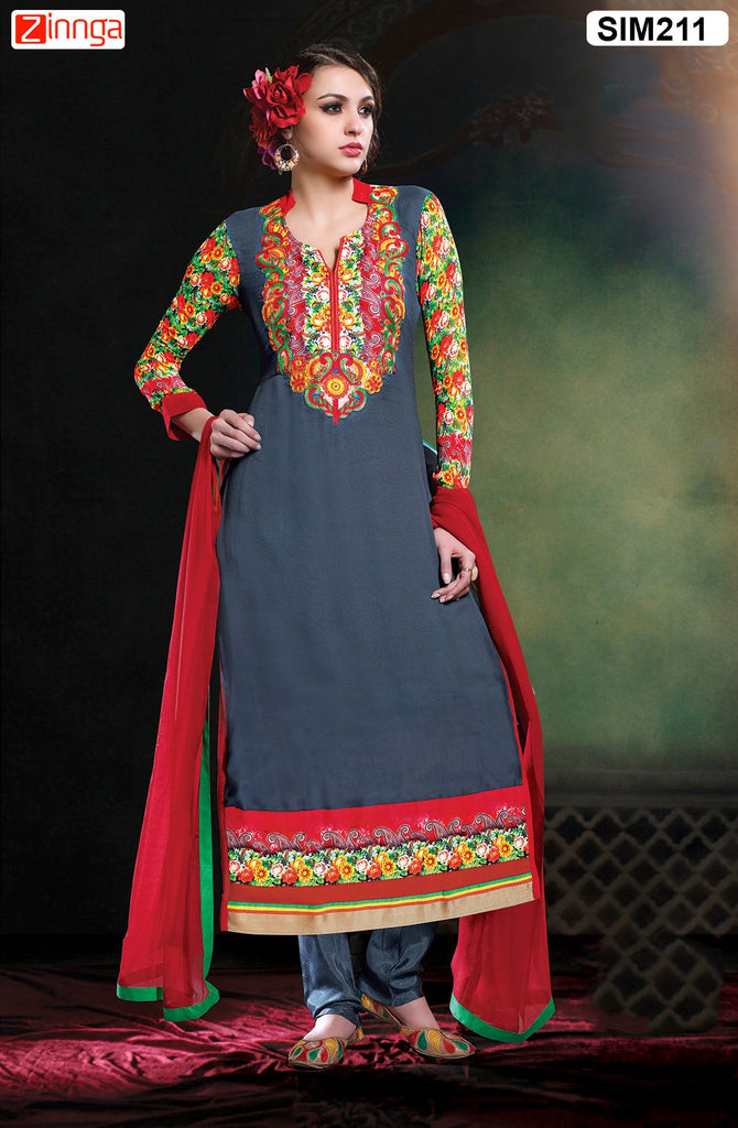 Grey  Color Pure Chanderi Semistitched Salwar