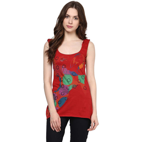 Red Color Organic Cotton Women Top - SIN-PepperRed
