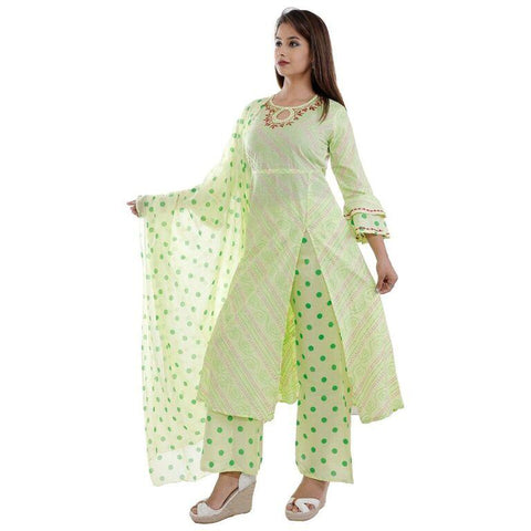 Light Green Color Rayon Women's Semi Stitched Kurti With Palazzo - SK-KP213
