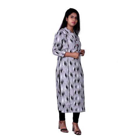 Grey Color cotton Women's Semi Stitched Kurti - SK-KU201