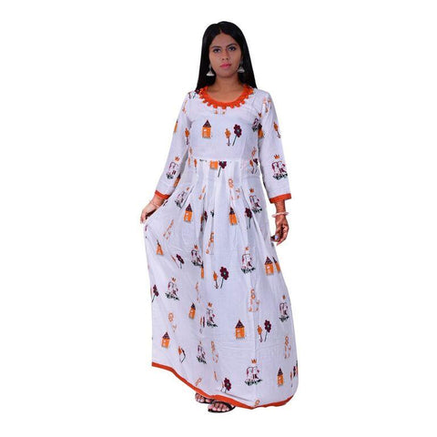 White Color cotton Women's Semi Stitched Kurti - SK-KU202
