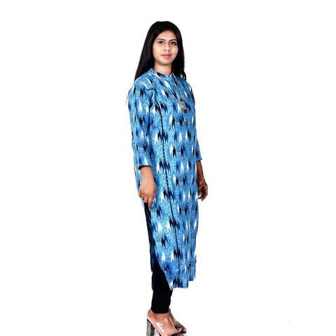 Blue Color cotton Women's Semi Stitched Kurti - SK-KU203