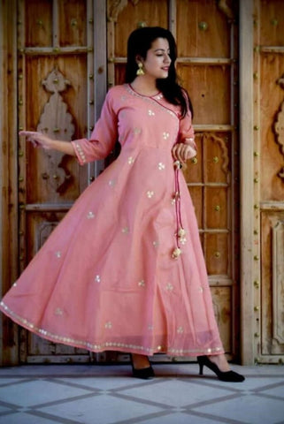 Light Pink Color cotton Women's Semi Stitched Kurti - SK-KU205