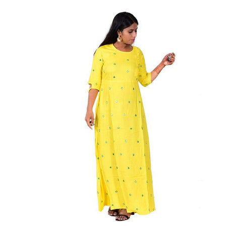 Yellow Color Rayon Women's Semi Stitched Kurti - SK-KU206