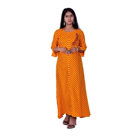 Orange Color Rayon Women's Semi Stitched Kurti - SK-KU208