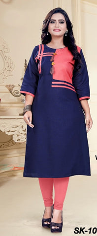 Navy Blue Color Cotton Women's Semi-Stitched Kurti - SKE-1031