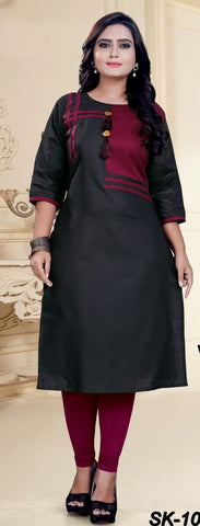 Black Color Cotton Women's Semi-Stitched Kurti - SKE-1033