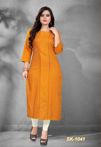 Mustard Color Rayon Women's Stitched Officewear Kurti - SKE-1041