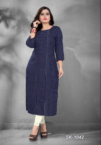 Navy Color Rayon Women's Stitched Officewear Kurti - SKE-1042