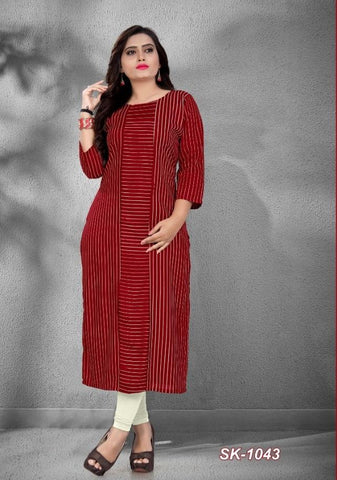 Maroon Color Rayon Women's Stitched Officewear Kurti - SKE-1043