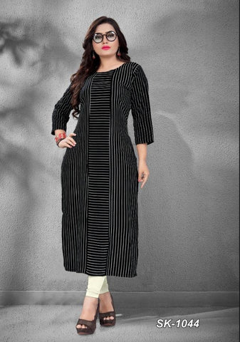 Black Color Rayon Women's Stitched Officewear Kurti - SKE-1044