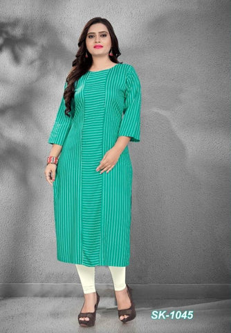 Turquoise Color Rayon Women's Stitched Officewear Kurti - SKE-1045