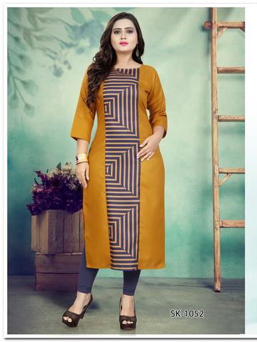 Mustard Color Ruby Cotton Women's Kurti - SKE-1052