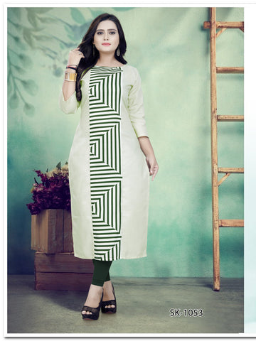 White Green Color Ruby Cotton Women's Kurti - SKE-1053