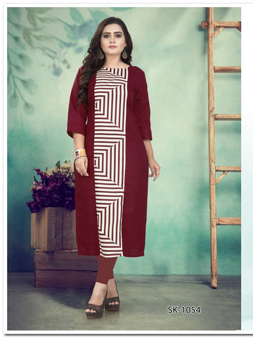 Maroon Color Ruby Cotton Women's Kurti - SKE-1054