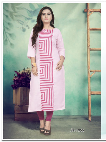 Pink Color Ruby Cotton Women's Kurti - SKE-1055