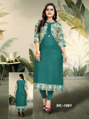 Green Color Ruby Cotton Women's Kurti - SKE-1061