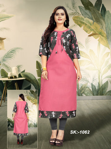Pink Color Ruby Cotton Women's Kurti - SKE-1062