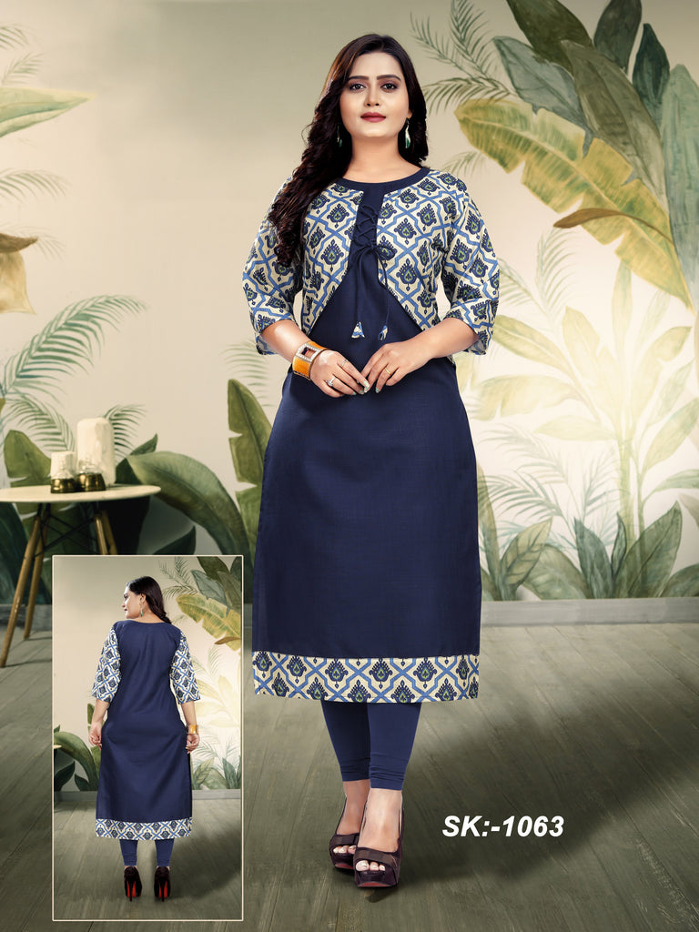 Buy Navy Color Ruby Cotton Women's Kurti