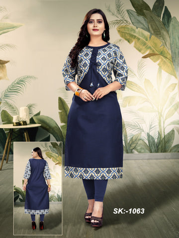 Navy Color Ruby Cotton Women's Kurti - SKE-1063