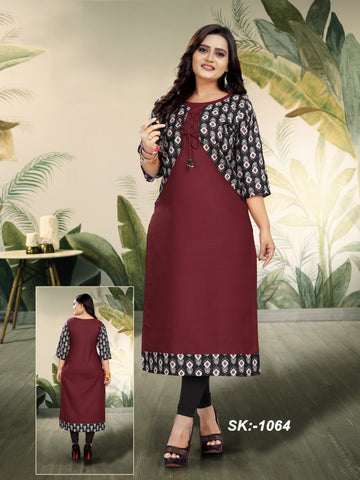 Maroon Color Ruby Cotton Women's Kurti - SKE-1064
